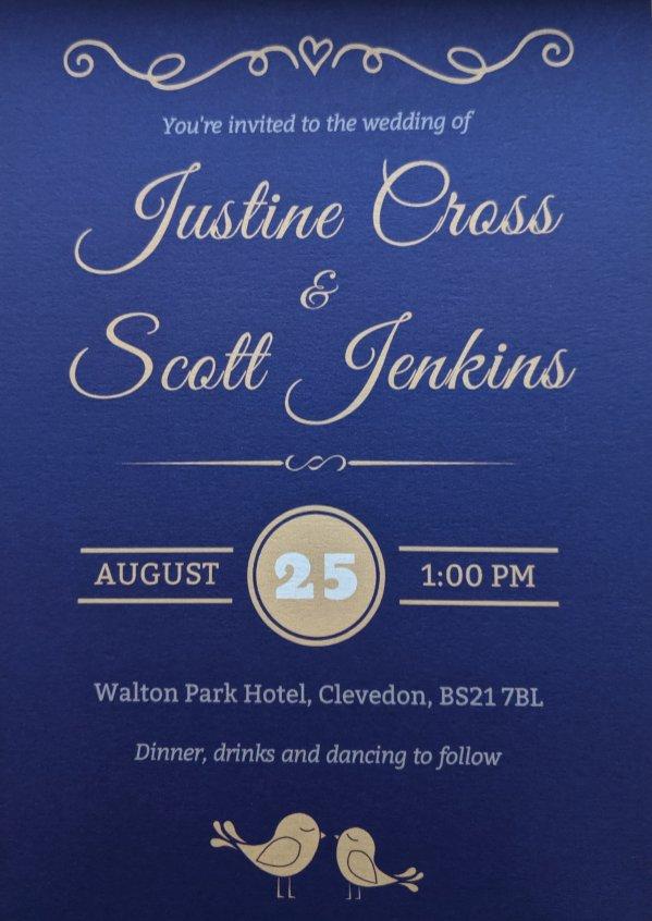 Justine and Scott's wedding invite