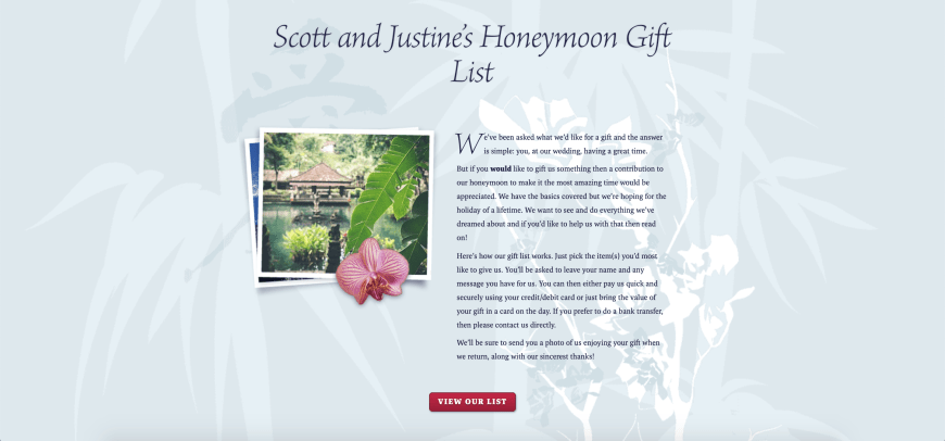 Scott and Justine's Honeymoon Gift List with Buy Our Honeymoon