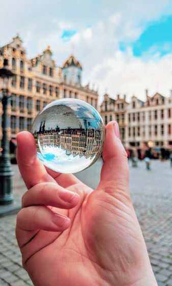 Grand-Place, Brussels through a lens ball