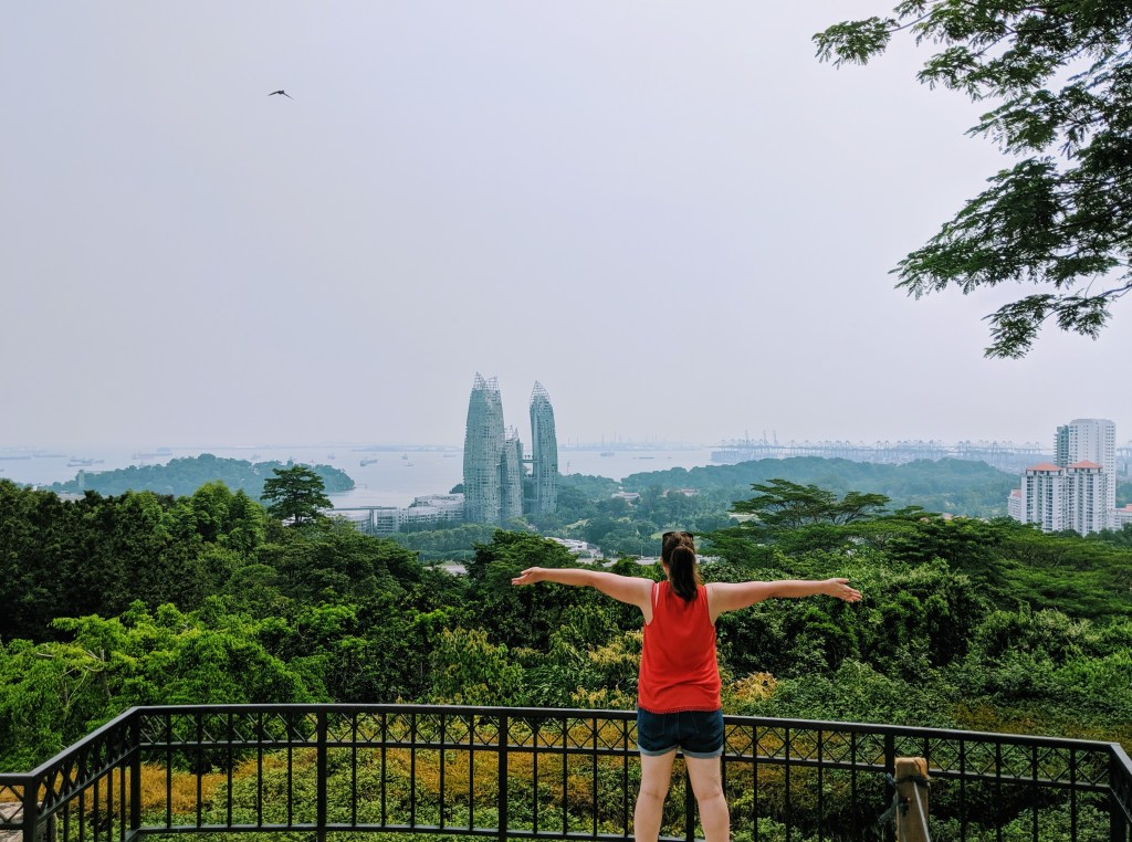 Justine at the top of Mount Faber Point
