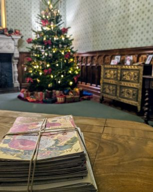 Stack of Victorian Christmas Cards at Tyntesfield