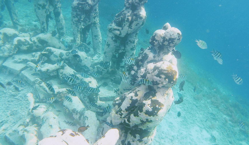 Gili Meno Underwater Statues with Fish All Around