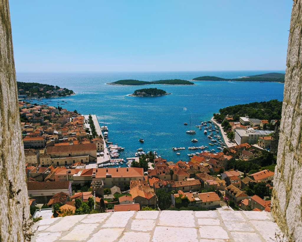 Views of Croatian islands from the fortress in Hvar