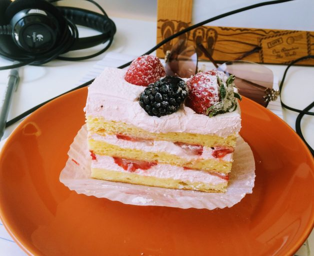 Strawberries and cream cake from Cafe Madeleine, San Francisco