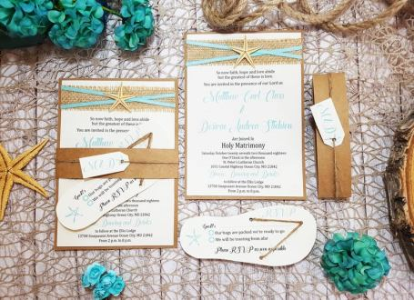 Beach Vibes Destination Wedding Invitations