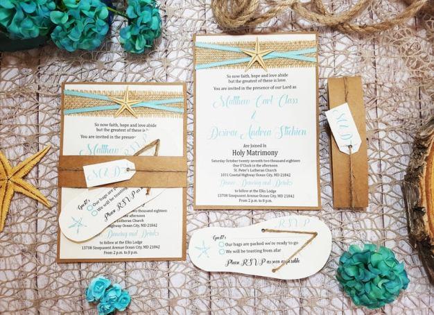 Beach Vibes Destination Wedding Invitations