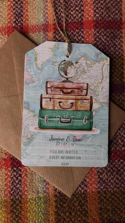 DIY Luggage Tag Wedding Invitations