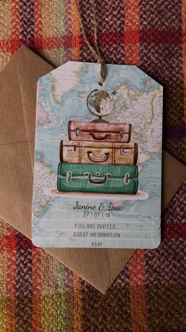 DIY Luggage Tag Wedding Invitations