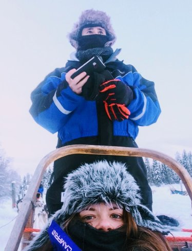 Justine & Scott in a husky sled