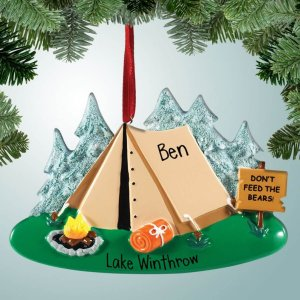 Travel Themed Christmas Ornaments - Personalised Camping Decoration