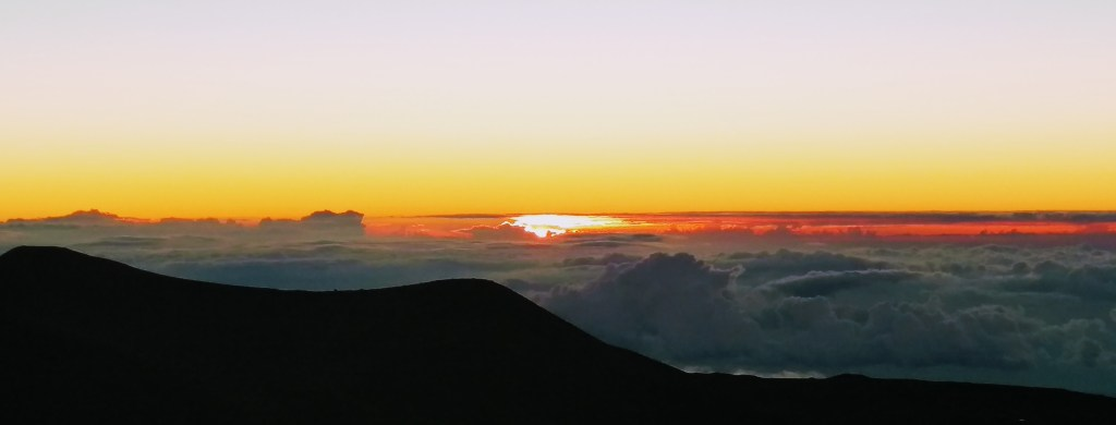 Sunset above the clouds in Hawaii