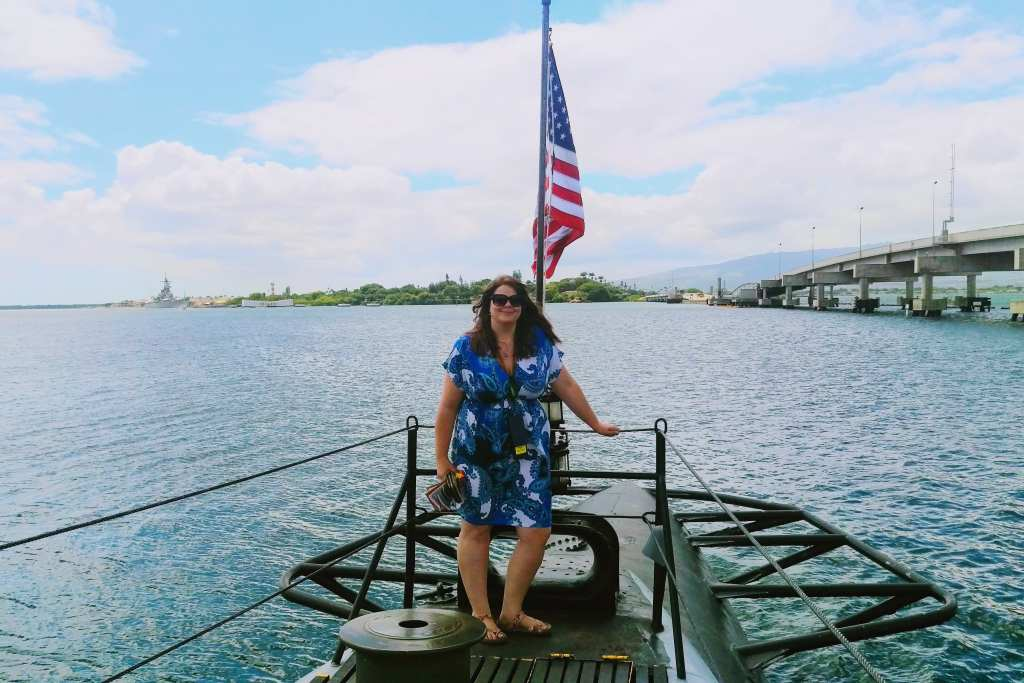 Justine at Pearl Harbor on Oahu, Hawaii