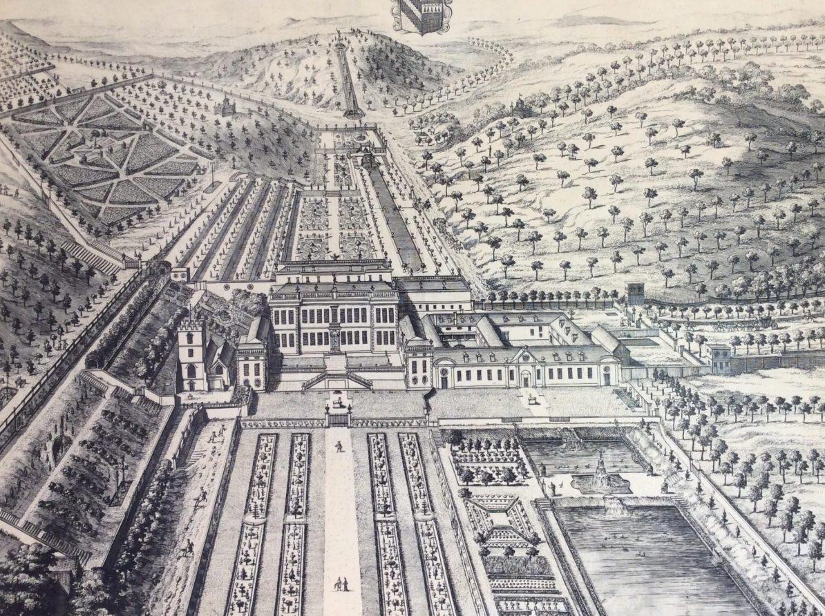 Black and white engraving of Dyrham Park