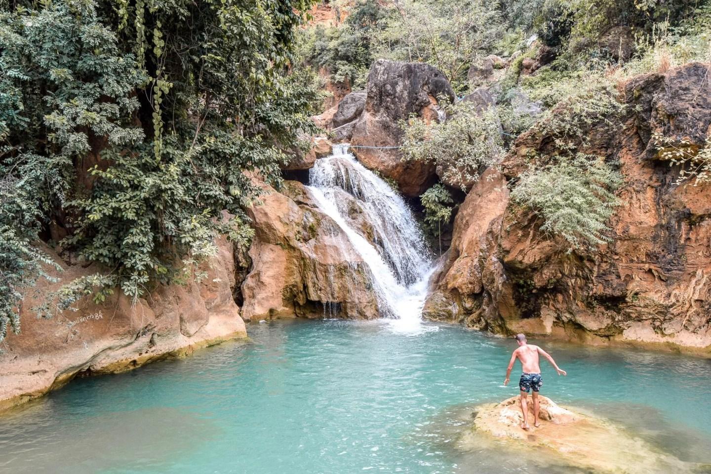 Wanderers & Warriors - Charlie & Lauren UK Travel Couple - Top 5 Things To Do In Mandalay - Dee Dote Waterfall Myanmar