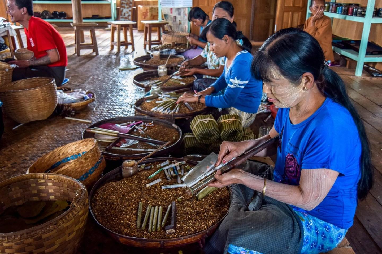 Wanderers & Warriors - Charlie & Lauren UK Travel Couple - Cheroot, Tobacco & Cigarette Making Inle Lake Myanmar - Things To Do In Inle Lake - Inle Lake Tour
