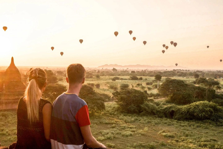 Wanderers & Warriors - Charlie & Lauren UK Travel Couple - Bagan Temples - Best Pagodas For Sunrise & Sunset - Bagan Sunrise Buledi Pagoda Myanmar