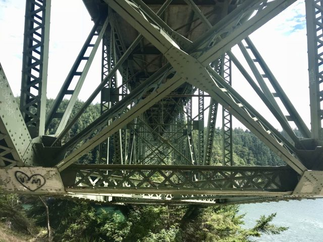 The steel bridge at Deception Pass . View from below.