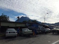 Shophouses with Mount Kinabalu in view