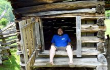 James in the corn shed