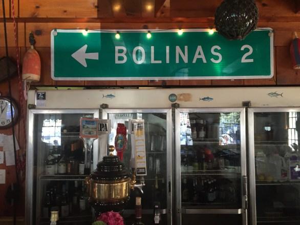 Stolen sign inside Coast Cafe