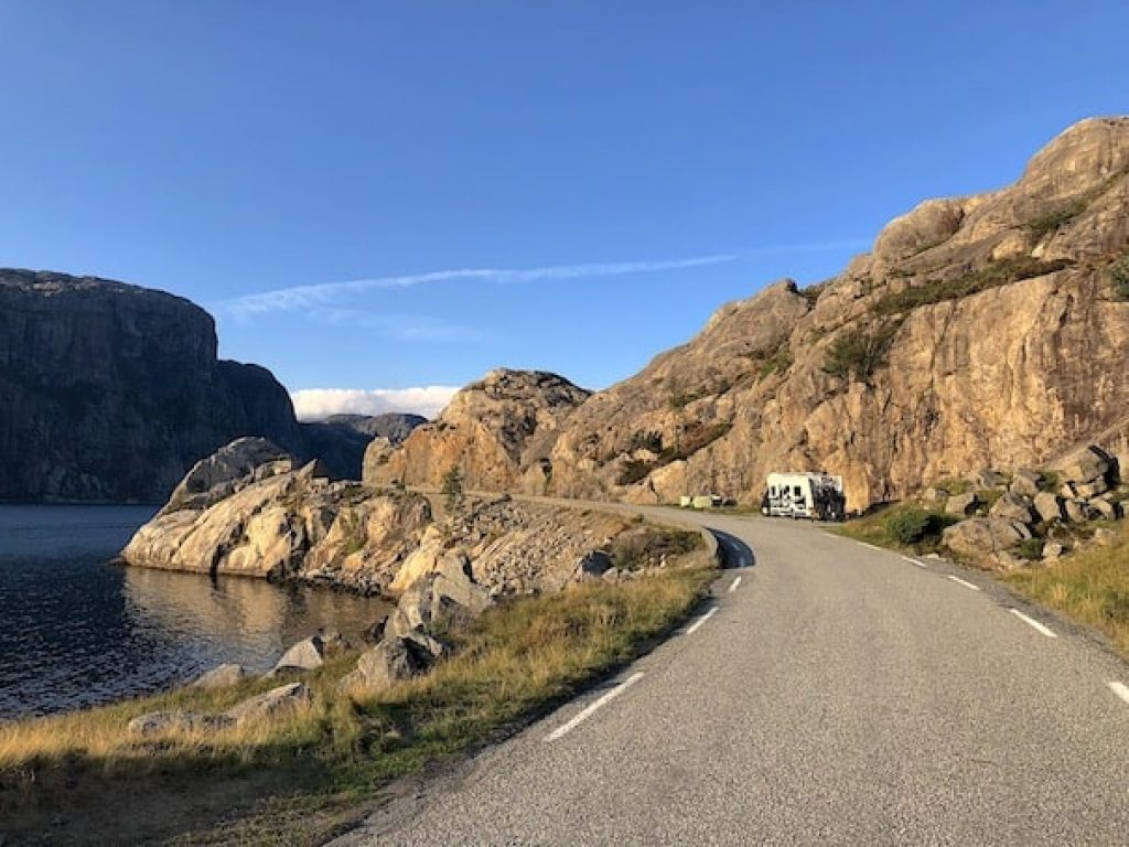 Visit the world famous pulpit rock. Here's Motorhome camping near Preikestolen. #motorhome #preikestolen #roadtrip #travel #adventure #rvlife #motorhomelife