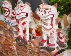 shisa yard statues in a stack