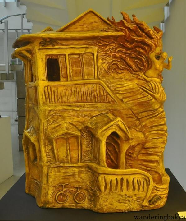 A House on Fire by Julie Lluch (Acrylic painted terracotta)