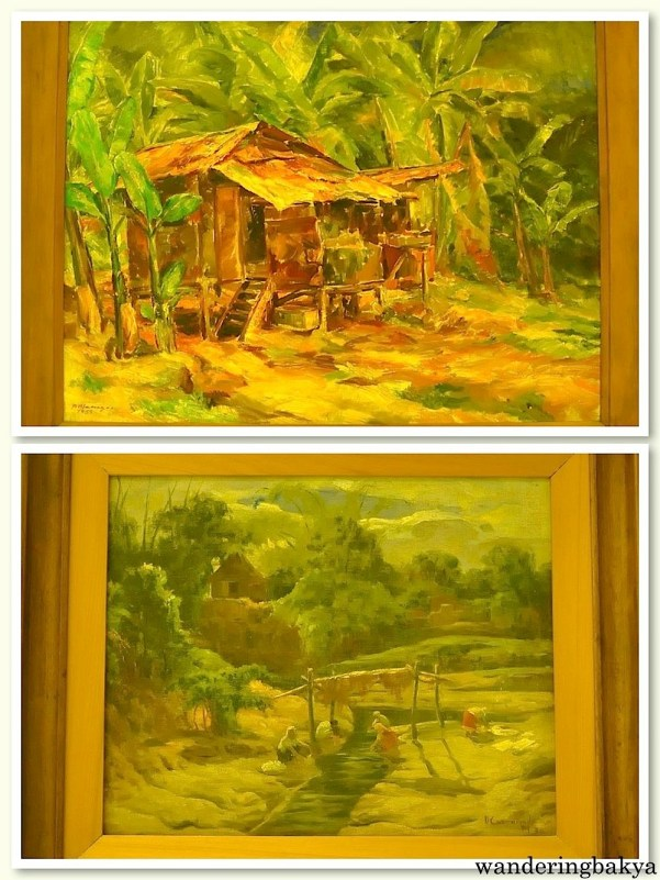 The Farmer's House by Diosdado Lorenzo (Oil on plywood) and Women Washing by the Stream (Lavanderas) by Dominador Castañeda (Oil on canvas)