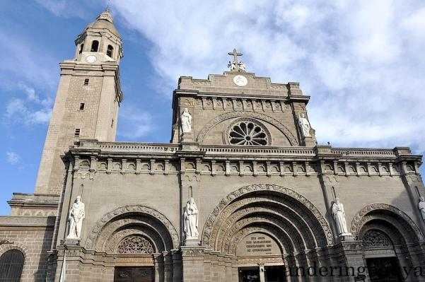 """The façade of the cathedral has a Latin inscription Tibi cordi tuo immaculato concredimus nos ac consecramus that means """"we consecrate to your immaculate heart and entrust to you for safekeeping. """"You"""" refers to Blessed Virgin Mary, the principal patroness of the cathedral."""