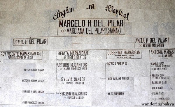 The del Pilar family tree is found inside the mausoleum
