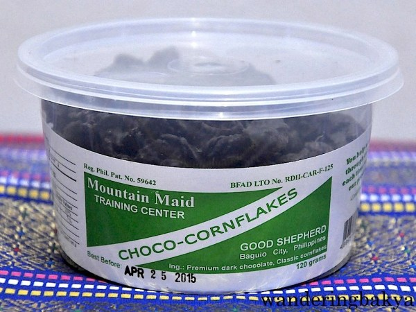 Choco cornflakes. These choco cornflakes were drenched in dark chocolate, no wonder they look like squid ink. A 120-gram container costs P120 (US $2.72).