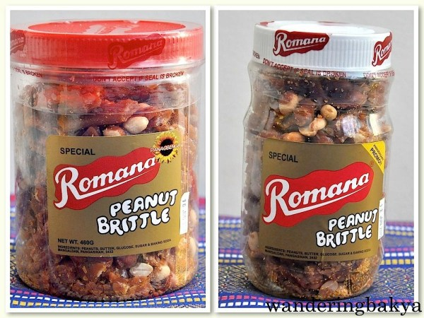 Romana Peanut Brittle. This is one of my favorite Baguio pasalubong. It is sweet but not overly so. The big container is 460grams while the small has no indicated weight. Ingredients of peanut brittle: peanuts, butter, glucose, sugar and baking soda.
