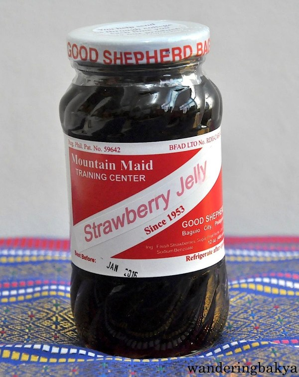 Strawberry Jelly. a 480-gram bottle costs P220 (US $4.99). Ingredients of strawberry jelly: fresh strawberries, sugar, fruit pectin, citric acid and sodium benzoate.