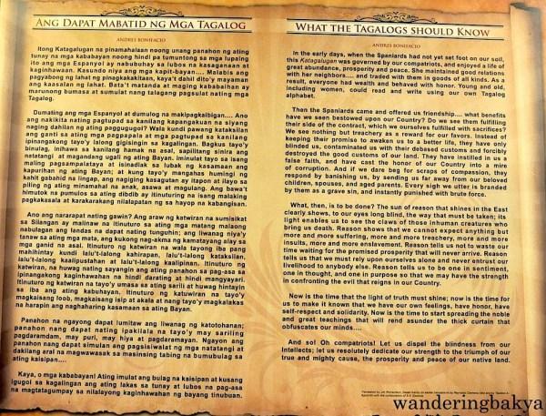 Complete content of Andres Bonifacio's Ang Dapat Mabatid ng mga Tagalog in Tagalog and in English.