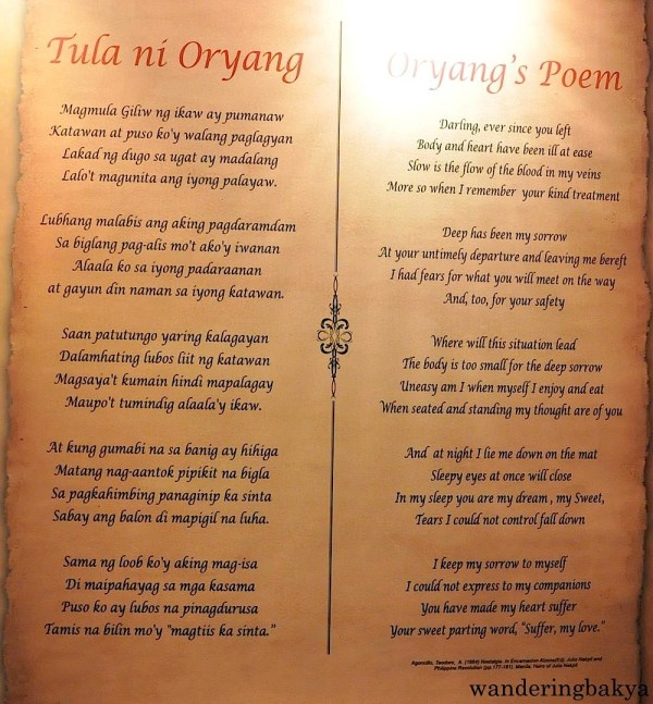 Complete content of Tula ni Oryang (Oryang's Poem) in Tagalog and in English