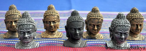 Buddha heads in different colors, IDR 10,500 (US $0.82) each