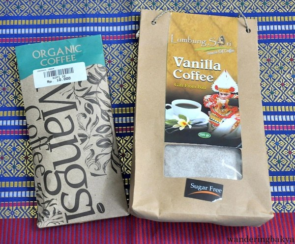Organic Coffee (100 grams), IDR 10,000 (US $0.77) at Agung Bali and Vanilla Coffee (200 grams), IDR 130,000 (US $9.99) at Lumbung Sari