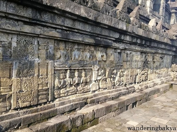Reliefs on the walls of Borobudur temple