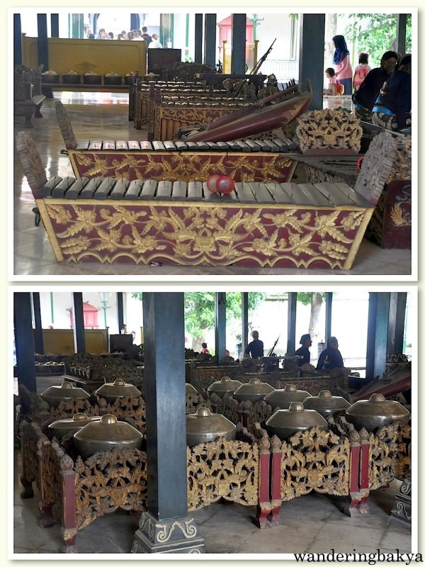 Musical instruments being played by art students in Kraton Sultan Palace