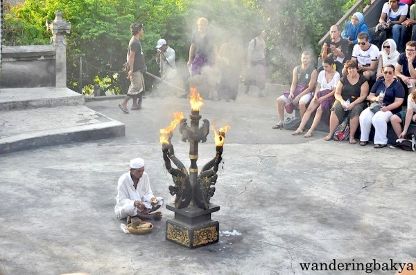 This happened before the kecak performance. The lit object is the focal point of the kecak performance.