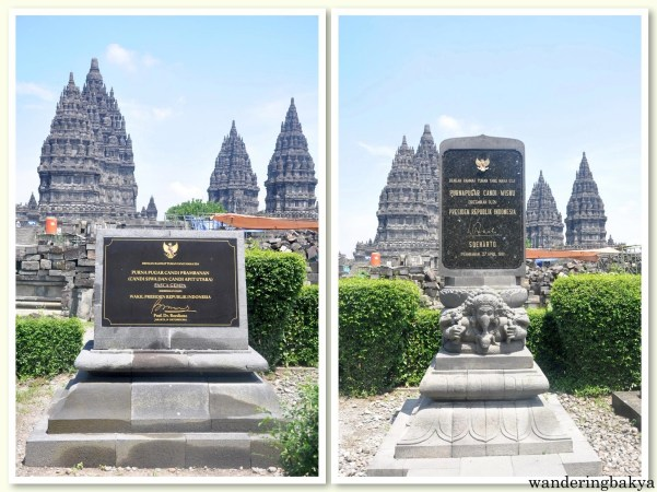 Two markers found in Prambanan. The one on the left was signed by Prof. Dr. Boediono on October 19, 2014 while the one on the right was signed by Soharto on April 27, 1991.