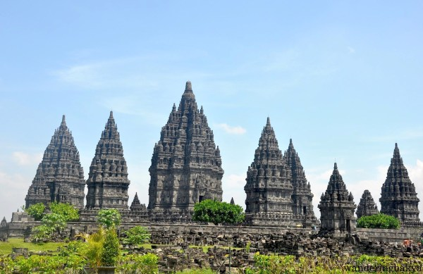Prambanan temples as seen from the left side