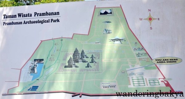 The Map of Prambanan Archaeological Park. We visited the area in the middle of the map.