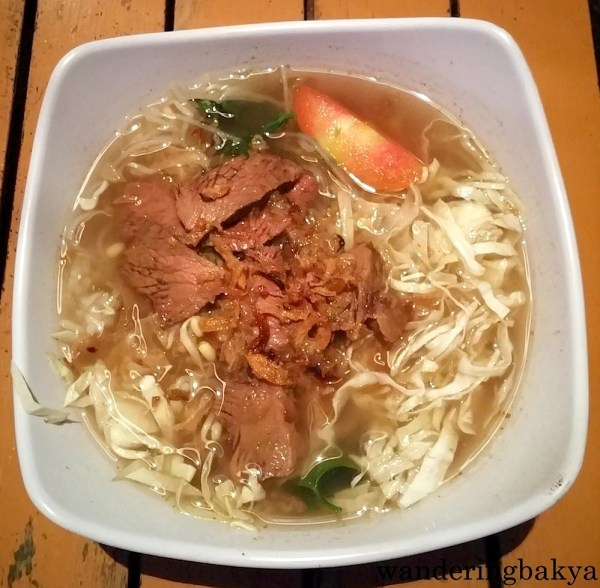Soto (beef with noodles and rice!), IDR 18,000 (US $1.40) at Raminten Resto and Cabaret Show, top floor of Mirota Batik. I am not a fan of flavorful water on my dish but this one tasted good. After the Nasgor Sumringan debacle,   Virg's soto was a welcome treat for my tastebuds.