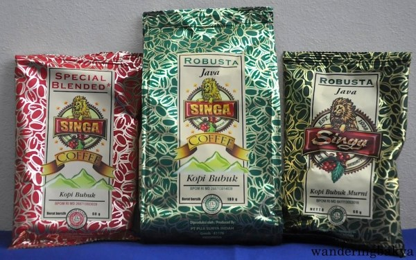 Singa Coffee from left to right: Special Blended 60 grams, IDR 5,690 (US $0.44), Robusta 180 grams, IDR 14,890 (US $1.14) and Robusta 60 grams, IDR 5,590 (US $0.43) at Pt. Hero Supermarket