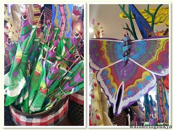 Kites in the shape of grasshopper and butterfly. The kites are also available in bird-figures.