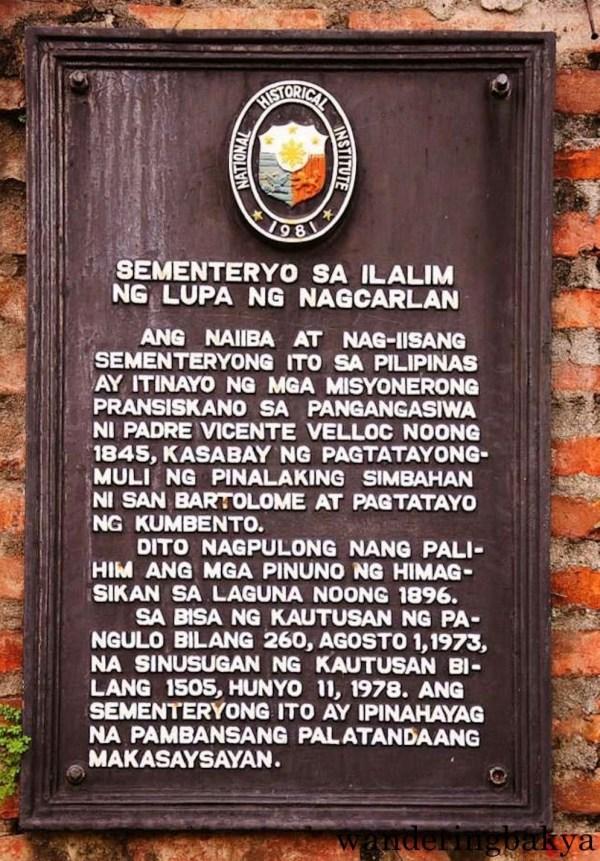 The Nagcarlan Underground Cemetery Marker