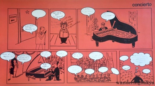 These comics on the walls of ICM change regularly, and students are encouraged to write inside the speech balloons.
