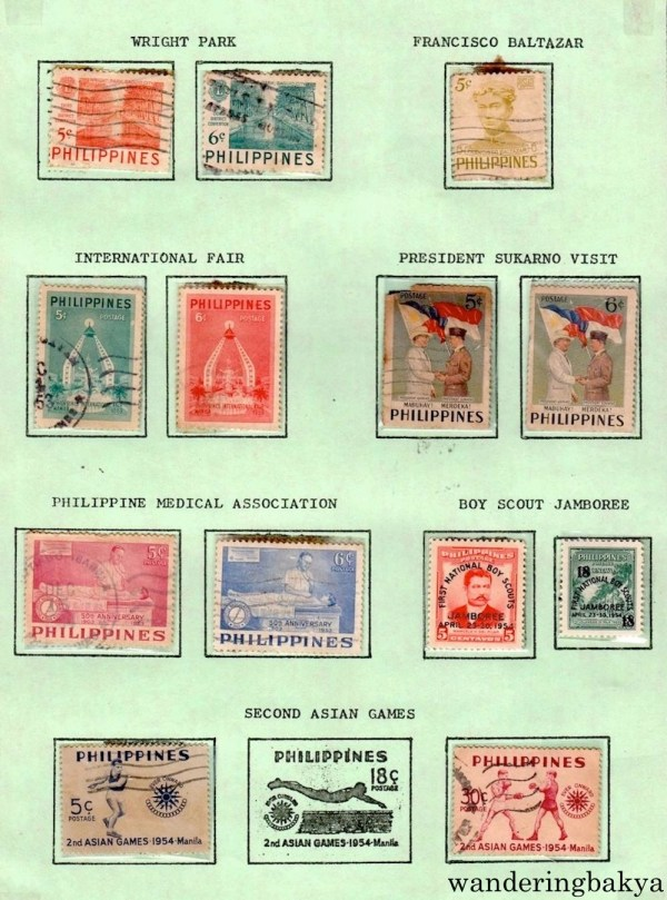 Philippine Stamps: Wright Park, Francisco Baltazar, International Fair, President Sukarno Visit, Philippine Medical Association, Boy Scout Jamboree, and Second Asian Games.