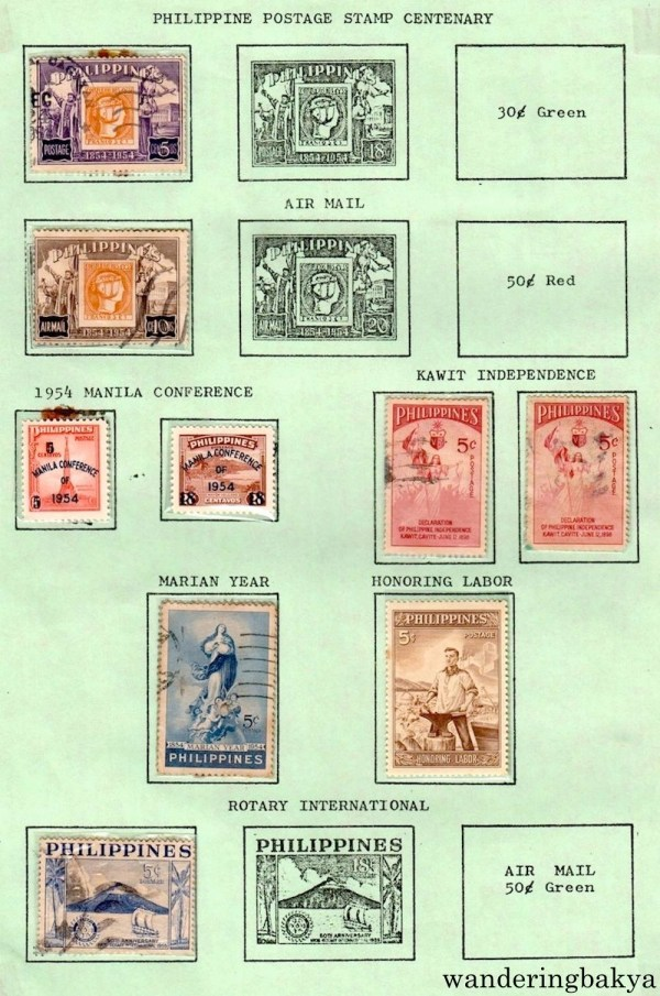 Philippine Stamps: Philippine Postage Stamp Centenary, Air Mail, 1954 Manila Conference, Kawit Independence, Marian Year, Honoring Labor and Rotary International.